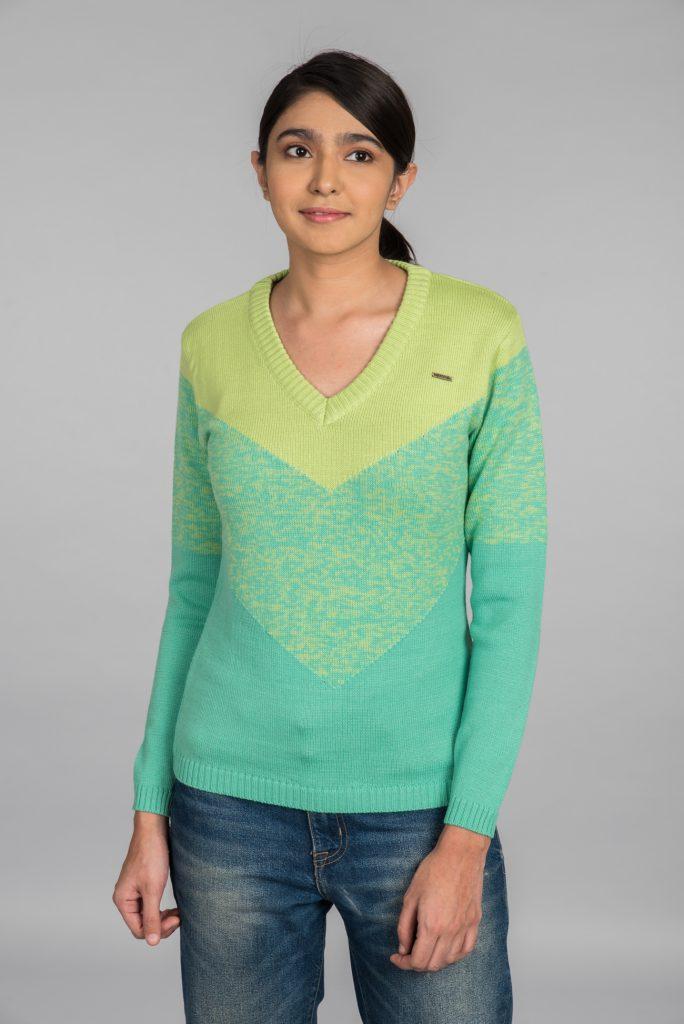 Kosha's V Neck Pullover Green for Women
