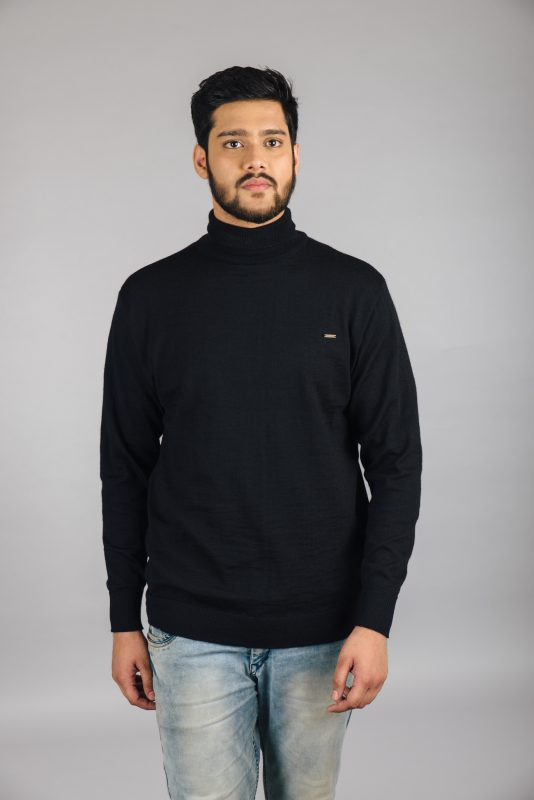 Kosha's High Neck Merino Wool Pullover for Men - Black