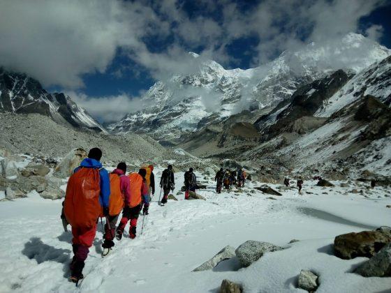 Climbers on their way